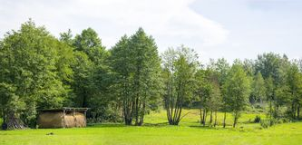 Panoramiczna siano stajnia w zielonym polu Zdjęcie Stock