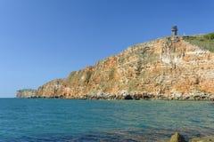Panoramicznego widoku forma Kaliakra faleza i Czarny morze obrazy royalty free
