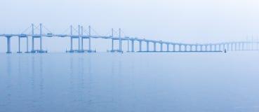 Panoramicznego widoku Hong Zhuhai Macau most przy wschód słońca fotografia stock