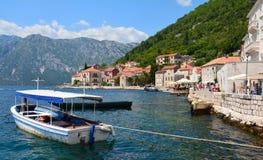 Panoramicznego widoku Kotor Fjord Montenegro Perast obraz royalty free