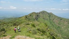 Panoramicznego widoku Oloroka pasmo górskie, rift valley, Kenja zdjęcia stock