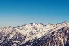 Panoramicznego widoku Tian shanu góry zdjęcia stock