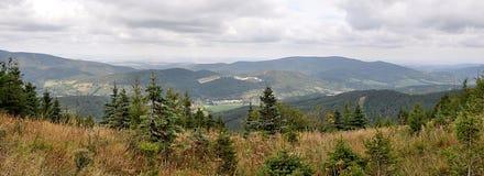 Panoramiczni widoki wieś Jeseniky, republika czech, Europa Obrazy Royalty Free