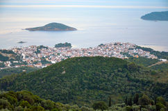 Panoramiczni widoki wyspa Skiathos obraz royalty free