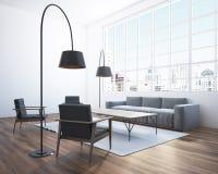 Panoramiczny żywy pokoju kąt, kanapa Zdjęcie Stock