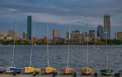 Panoramiczny Boston linia horyzontu od rzeki fotografia royalty free