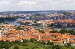 panoramiczny Charles bridżowy widok Prague Obraz Royalty Free
