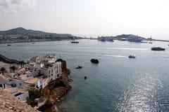 Panoramiczny dok Ibiza miasteczko, Balearic wyspy, Hiszpania zdjęcie royalty free