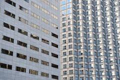 Panoramiczny i perspektywiczny szeroki kąta widok stalowego błękita tło szkło Fotografia Stock