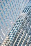 Panoramiczny i perspektywiczny szeroki kąta widok stalowego błękita tło szkło Obraz Stock