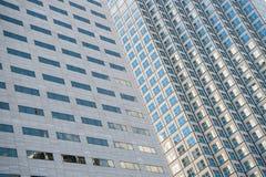 Panoramiczny i perspektywiczny szeroki kąta widok stalowego błękita tło szkło Zdjęcie Royalty Free