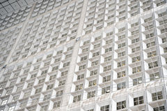 Panoramiczny i perspektywiczny szeroki kąta widok stalowego błękita tło szkło Obraz Royalty Free