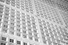 Panoramiczny i perspektywiczny szeroki kąta widok stalowego błękita tło szkło Fotografia Royalty Free