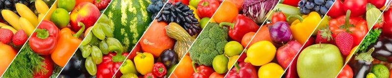 Panoramiczny inkasowy świeży owoc i warzywo tło Zdjęcia Stock