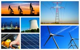Panoramiczny kolaż władza, energia produkty i pojęcia i Zdjęcie Royalty Free