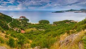 Panoramiczny krajobraz Budva Riviera w Montenegro Zdjęcia Royalty Free