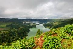 Panoramiczny krajobraz jeziorna Sete Cidades laguna w Azores Zdjęcie Royalty Free