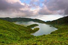 Panoramiczny krajobraz od Azores lagun Fogo laguna Obrazy Stock
