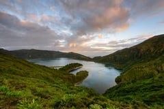 Panoramiczny krajobraz od Azores lagun w Portugalia Zdjęcie Stock