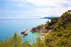 Panoramiczny malowniczy morze krajobraz Lloret De Mar Obraz Royalty Free