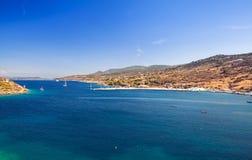 Panoramiczny nabrzeżny krajobraz, Agios Nikolaos Obrazy Royalty Free