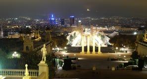 Panoramiczny noc widok Barcelona Fotografia Royalty Free