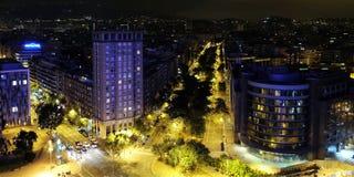 Panoramiczny noc widok Barcelona Obraz Royalty Free