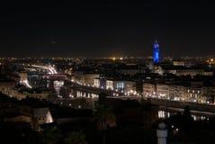 Panoramiczny noc widok Florencja od Piazzale Michelangelo fotografia royalty free