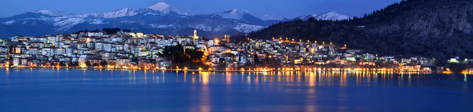 Panoramiczny nocy pejzaż miejski obraz stock