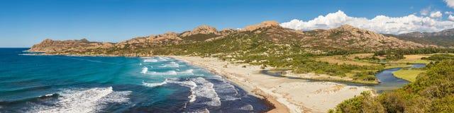 Panoramiczny Ostriconi plaża Agriates w Corsica i pustyni des Obrazy Stock