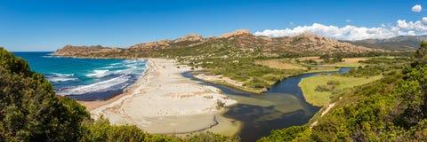 Panoramiczny Ostriconi plaża Agriates w Corsica i pustyni des Fotografia Royalty Free