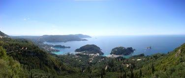 panoramiczny paleokastritsa widok Zdjęcia Royalty Free
