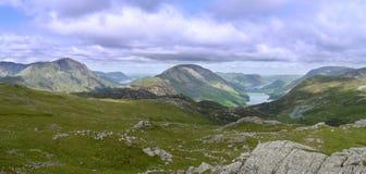 Panoramiczny patrzeć Buttermere, Jeziorny okręg Obraz Royalty Free