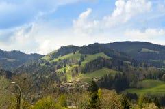 Panoramiczny piękny widok Gruyeres Szwajcaria, Europe Zdjęcie Royalty Free