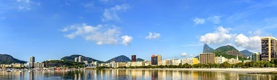 Panoramiczny ranku widok Botafogo zatoczka i plaża fotografia royalty free