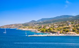 Panoramiczny seascape, port Agios Nikolaos Zdjęcia Royalty Free