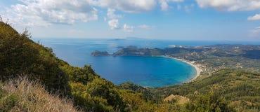 Panoramiczny seascape widok Ag, Georgios Armenadon zatoka, Corfu, Gr Obrazy Stock