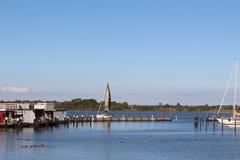 Panoramiczny spojrzenie o jachtu schronieniu od Burgtiefe fotografia royalty free