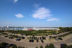 Panoramiczny spojrzenie o jachtu schronieniu od Burgtiefe & x28; Fehmarn& x29; Obrazy Royalty Free