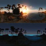 Panoramiczny tropikalna plaża przy zmierzchem i nocą Zdjęcia Royalty Free