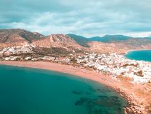 Panoramiczny trutnia widok od miasteczka w Grecja dzwonił Paleochora fotografia royalty free