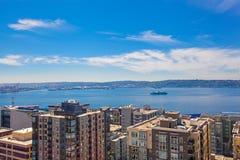 Panoramiczny widok śródmieście Seattle podczas lato czasu, Washin zdjęcia royalty free