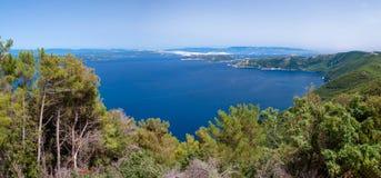 Panoramiczny widok Adriatic morze od Cres wyspy Fotografia Royalty Free