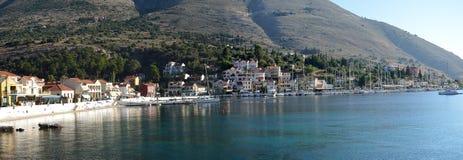 Panoramiczny widok Aghia Efimia port Obrazy Stock