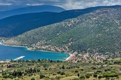 Panoramiczny widok Agia Effimia miasteczko, Kefalonia, Grecja Fotografia Stock