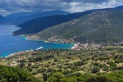 Panoramiczny widok Agia Effimia miasteczko, Kefalonia, Grecja Obrazy Stock
