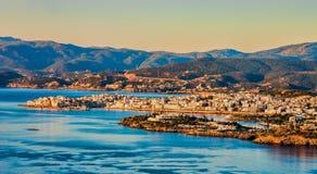 Panoramiczny widok Agios Nikolaos w wczesnym poranku, Crete Zdjęcia Stock