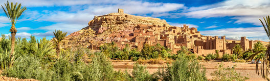 Panoramiczny widok Ait Benhaddou, UNESCO światowego dziedzictwa miejsce w Maroko Zdjęcia Stock