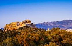 Panoramiczny widok akropol i Parthenon Fotografia Royalty Free