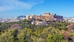 Panoramiczny widok akropol w Ateny, Grecja Fotografia Stock